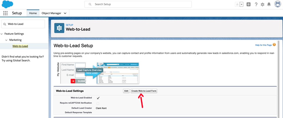 Create Salesforce Web-to-Lead Form